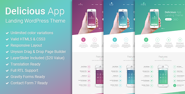 Delicious v1.0.2 — Responsive App Landing WordPress Theme