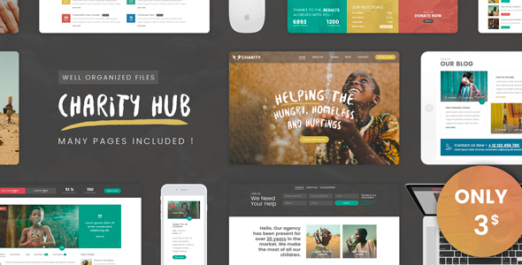 Charity Foundation — Charity Hub PSD Template