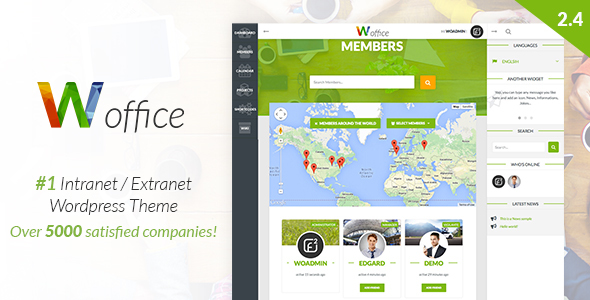 Woffice v2.4.2 — Intranet/Extranet WordPress Theme