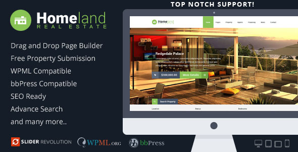 Homeland v3.1.4 — Responsive Real Estate WordPress Theme