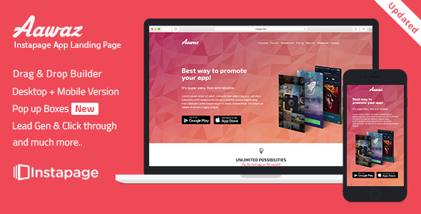 Aawaz — Instapage App Landing Page Template