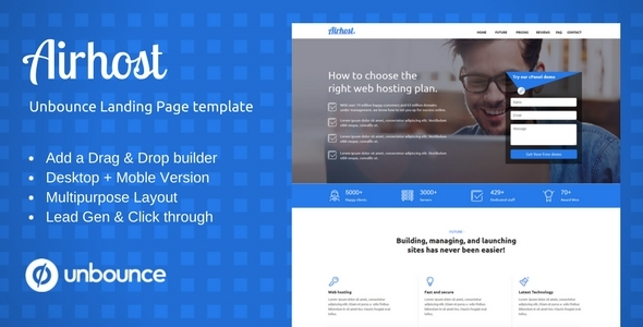 Airhost — Multi-Purpose Template with Unbounce Page Builder