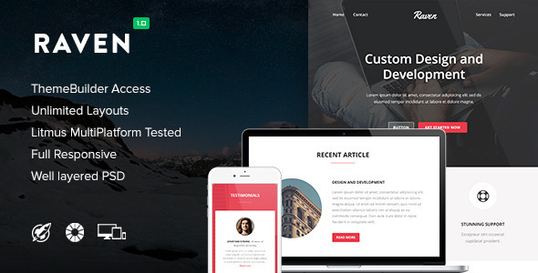 Raven — Responsive Email + Themebuilder Access