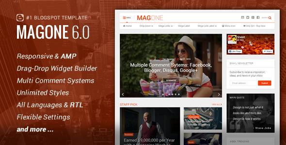 MagOne v6.2.6 — Responsive News & Magazine Blogger Template