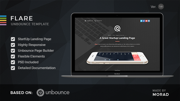 Flare — Unbounce Startup Landing Page
