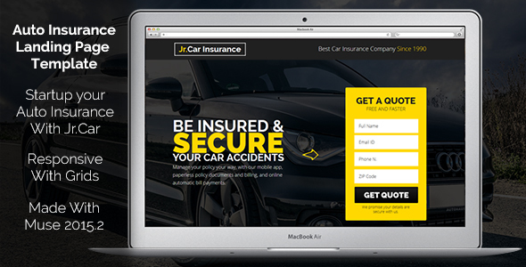 Jr. Auto Insurance Landing Page — Responsive Muse Template