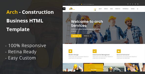 Arch — Construction, Building And Business HTML Template