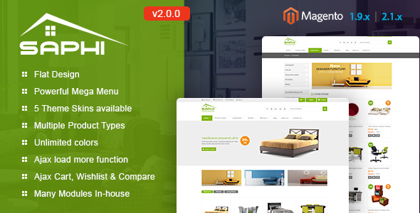 SM Saphi v2.2.0 — Responsive Magento 2 and 1.9 Theme