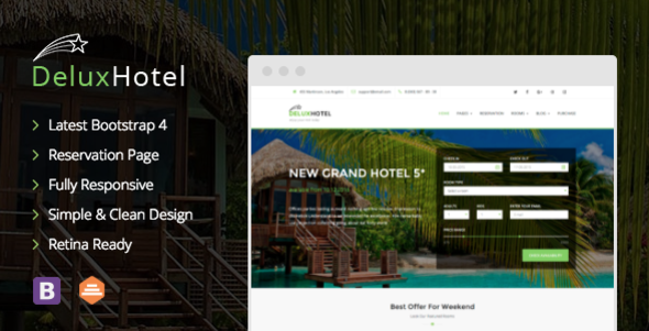 DeluxHotel — Responsive Bootstrap 4 Template For Hotels