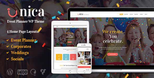 Unica v1.1 — Event Planning Agency Theme