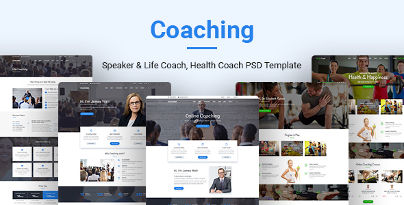 Coaching — Speaker & Life Coach, Health Coach PSD Templates
