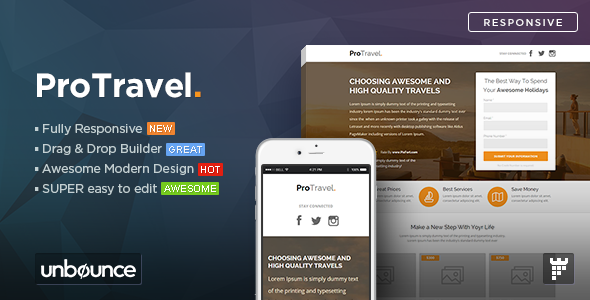 ProTravel — Travel Agency Unbounce Template