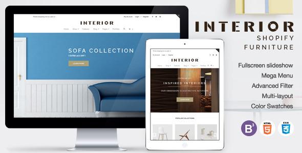 Responsive Minimalist Shopify Theme for Interior v1.2