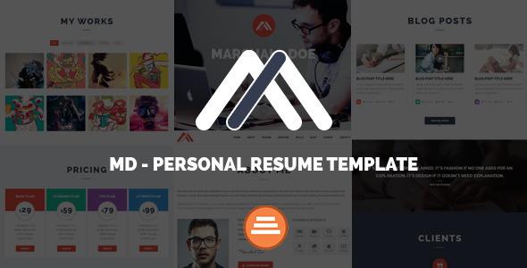 MD — Responsive Personal Resume & Portfolio Template