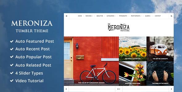 Meroniza — A Responsive & Elegant Tumblr Theme