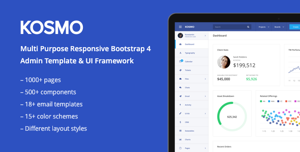 KOSMO — Multi-Purpose Responsive Bootstrap 4 Admin Dashboard Template + Angular 4 Starter Kit — Updated