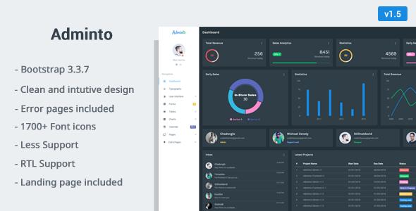 Adminto v1.5 — Responsive Admin Dashboard