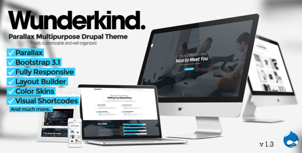 Wunderkind v1.2.1 — One Page Parallax Drupal 7 Theme