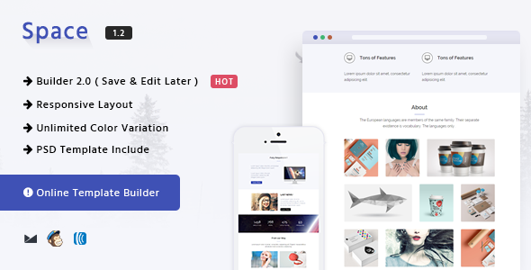 Space v1.2 — Responsive Email Template + Online Builder