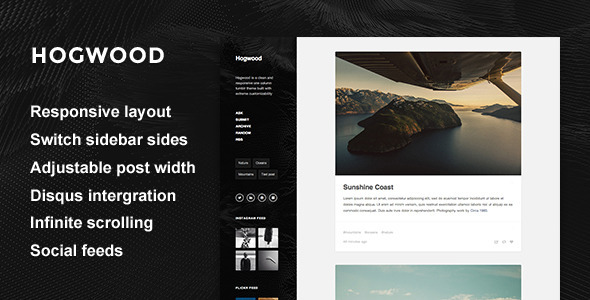 Hogwood — Responsive Content Focus Tumblr Theme