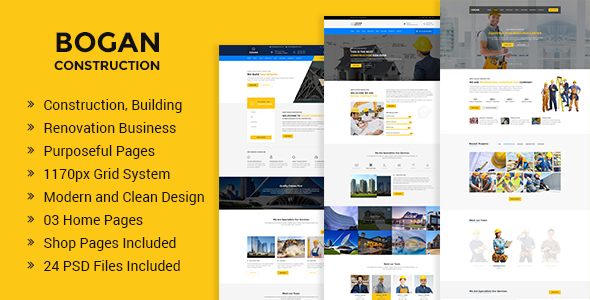 Bogan — Construction Building and Renovation Business PSD Template
