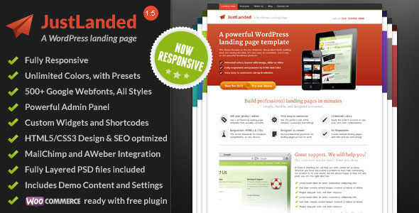 JustLanded v1.6.5 — WordPress Landing Page