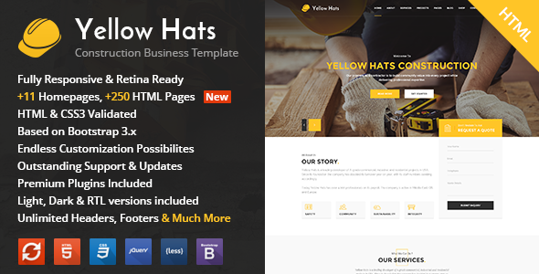 Yellow Hats v1.1 — Construction, Building & Renovation HTML Template