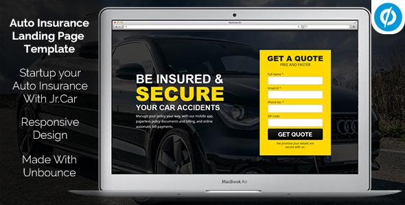 Jr. Auto Insurance Landing Page — Responsive Unbounce Template