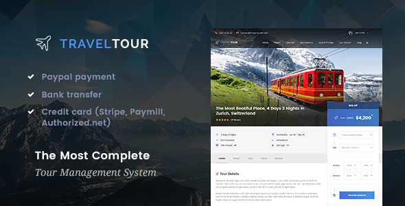 Travel Tour 2.0.0 — Travel & Tour Booking Management System