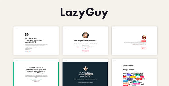 LazyGuy — Personal Landing Page Template for Everyone