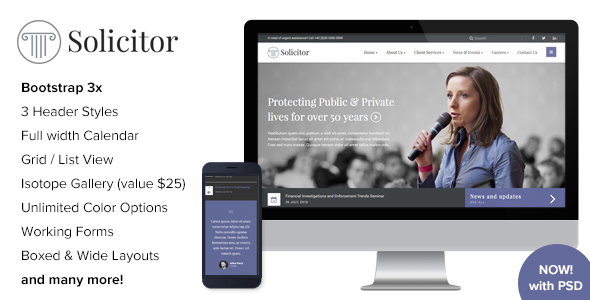 Solicitor — Law Business Responsive HTML5 Template