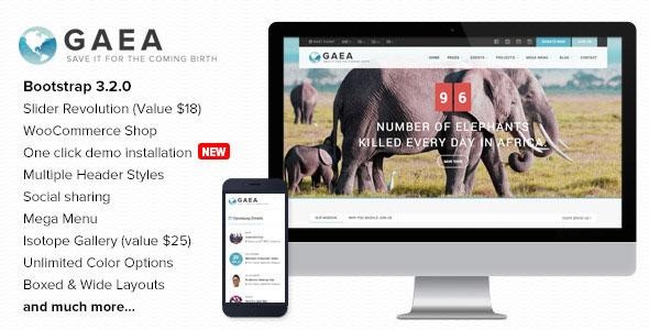 Gaea v1.9 — Environmental WordPress Theme