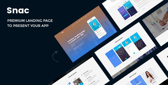 Snac — Premium Responsive App Landing Page PSD Template