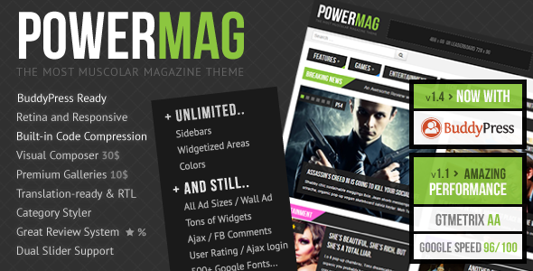 PowerMag v2.0 — The Most Muscular Magazine/Reviews Theme