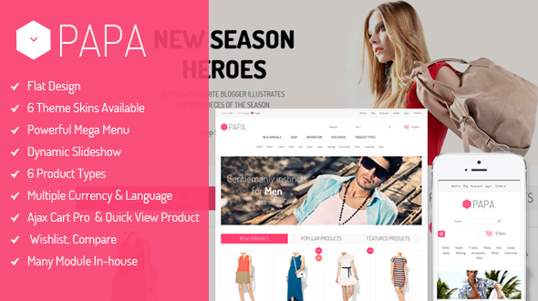 SM Papa v1.2.0 — Responsive Fashion Theme for Magento