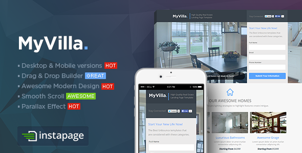 MyVilla — Real Estate Instapage Template