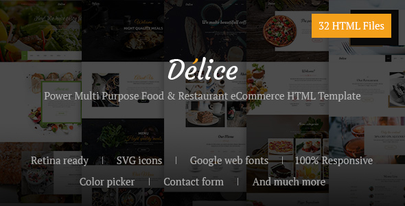 Delice — Power Multi Purpose Food & Restaurant eCommerce HTML Template