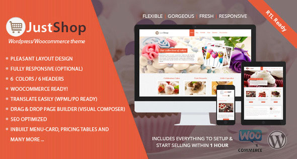 Justshop v7.64 — Cake Bakery Restaurant WordPress Theme