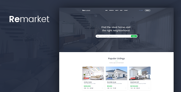 Remarket — Real Estate PSD Template
