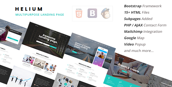 Helium — 10 in 1 Landing Pages Package