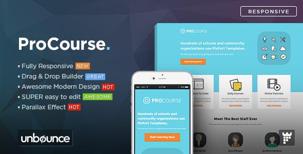 ProCourse — Unbounce eCourse Landing Page Template