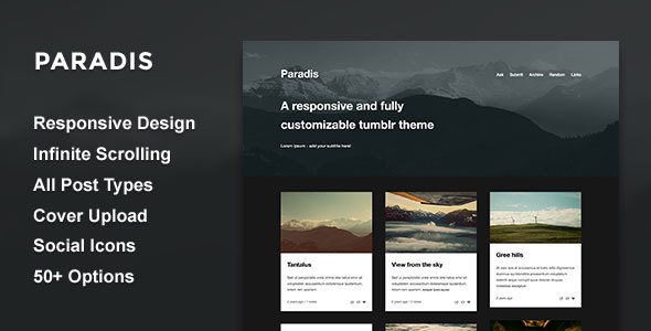 Paradis — A Minimalistic Grid Theme