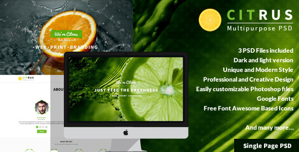 Citrus — One Page PSD Template