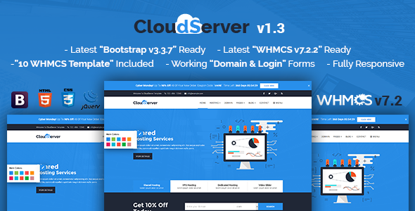 CloudServerr v1.3 — Responsive HTML5 Technology, Web Hosting and WHMCS Template