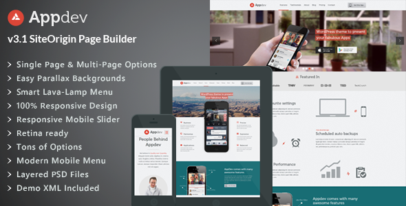 Appdev v3.7 — Mobile App Showcase WordPress Theme