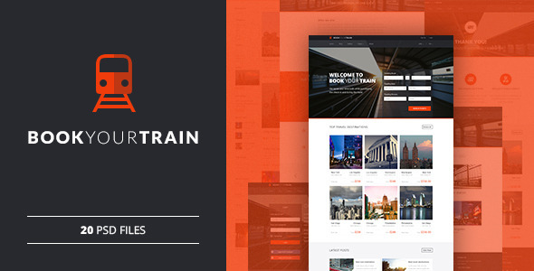 Book Your Train — Online Booking PSD Template