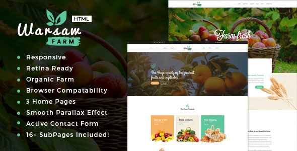 Warsaw — Organic Food, Agriculture, Farm Services and Beauty Products HTML Template