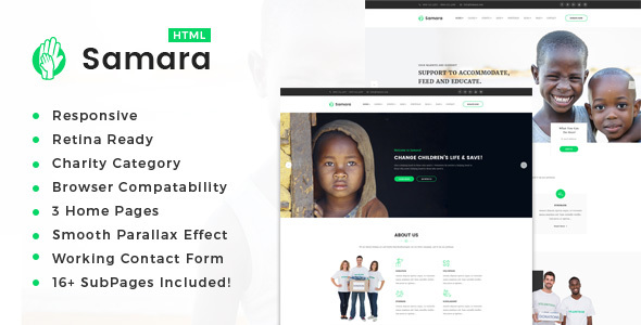 Samara — Responsive HTML Template for Charity & Fund Raising