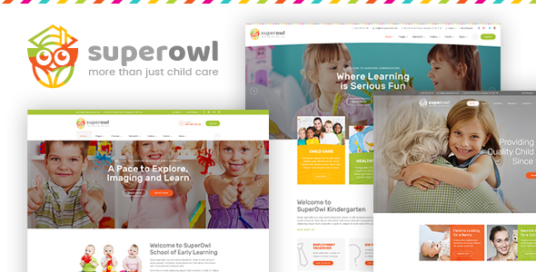 SuperOwl — Kindergarten, School of Early Learning, Nanny Agency PSD Template