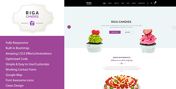 Riga — Candy & Sweets HTML Template